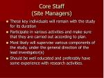 core staff site managers