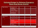 estimated budget for bahamas emergency room drug survey cont d
