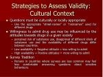 strategies to assess validity c ultural c ontext