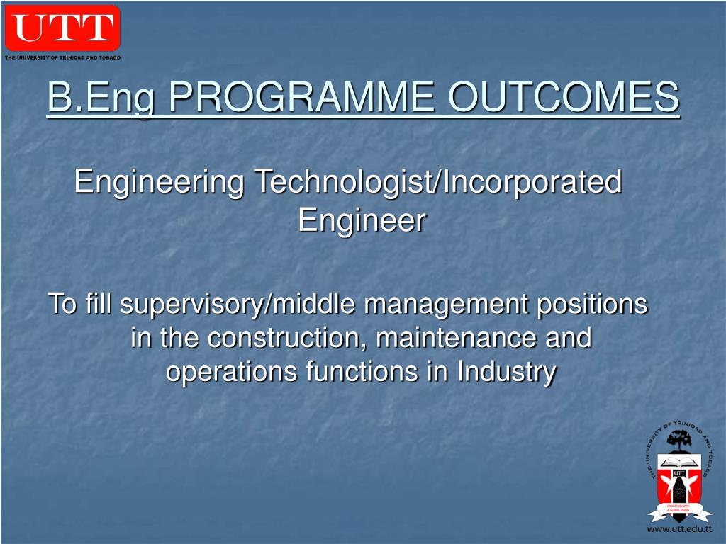 B.Eng PROGRAMME OUTCOMES