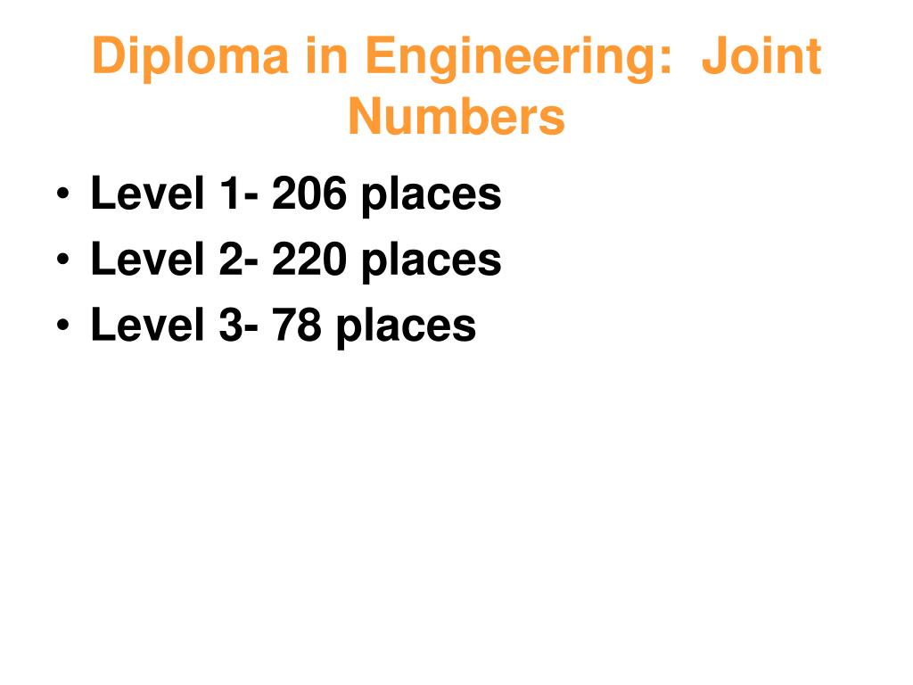 Diploma in Engineering:  Joint Numbers