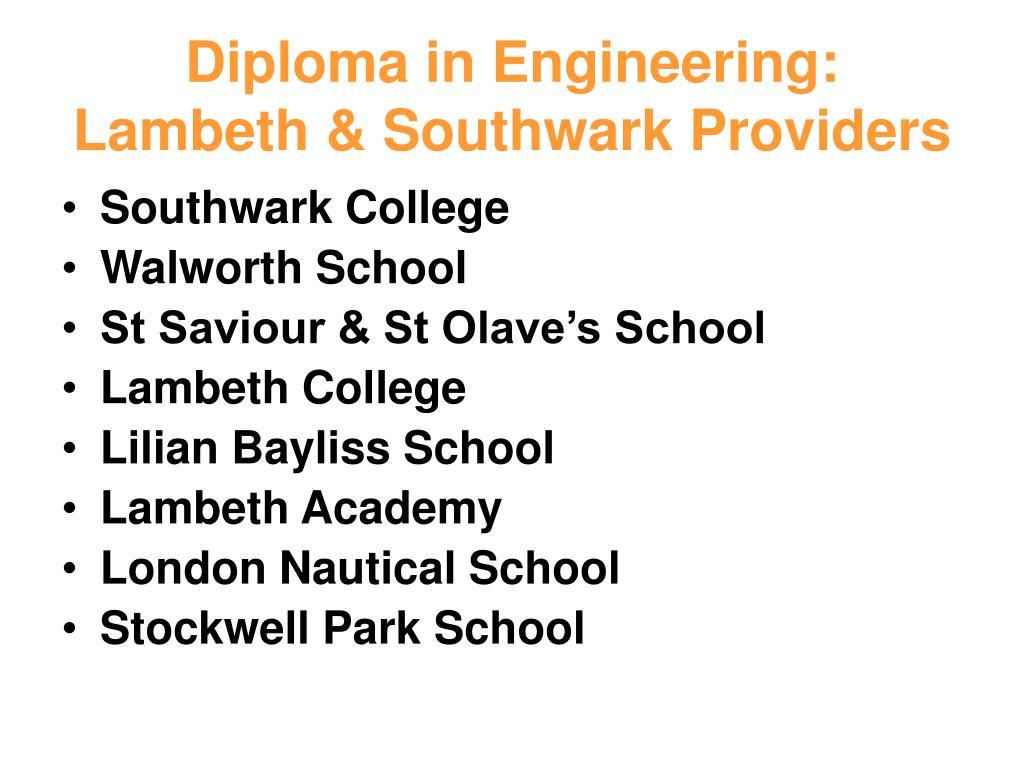 Diploma in Engineering: Lambeth & Southwark Providers