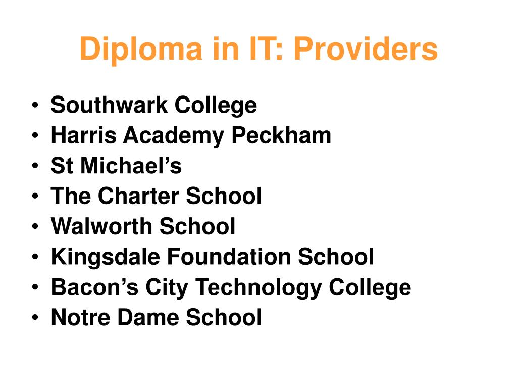 Diploma in IT: Providers