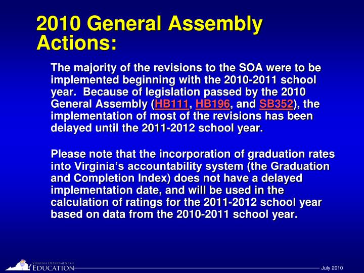 2010 general assembly actions