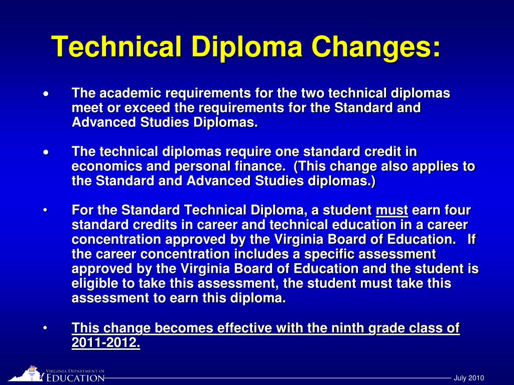 Technical Diploma Changes: