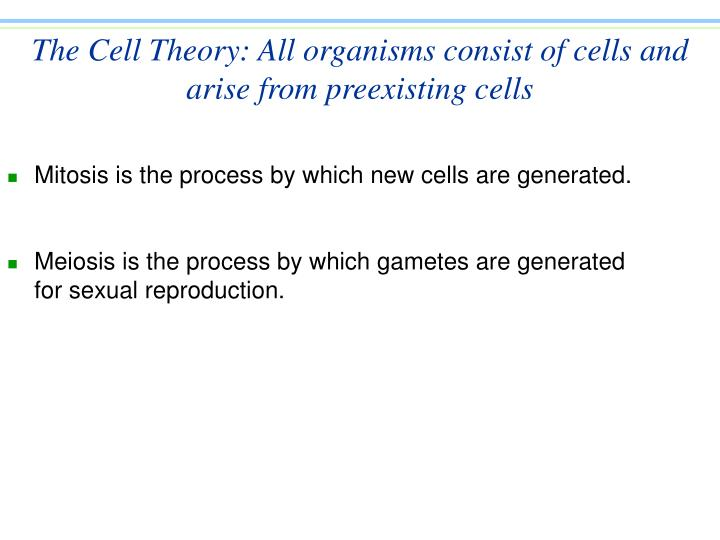 The cell theory all organisms consist of cells and arise from preexisting cells