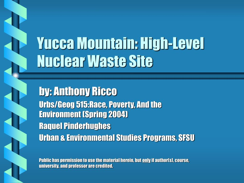 yucca mountain high level nuclear waste site l.
