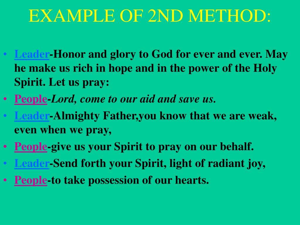 EXAMPLE OF 2ND METHOD:
