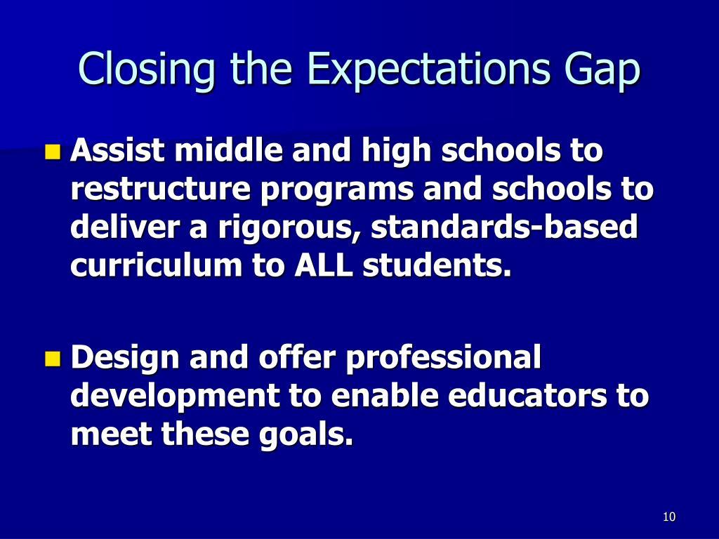 Closing the Expectations Gap