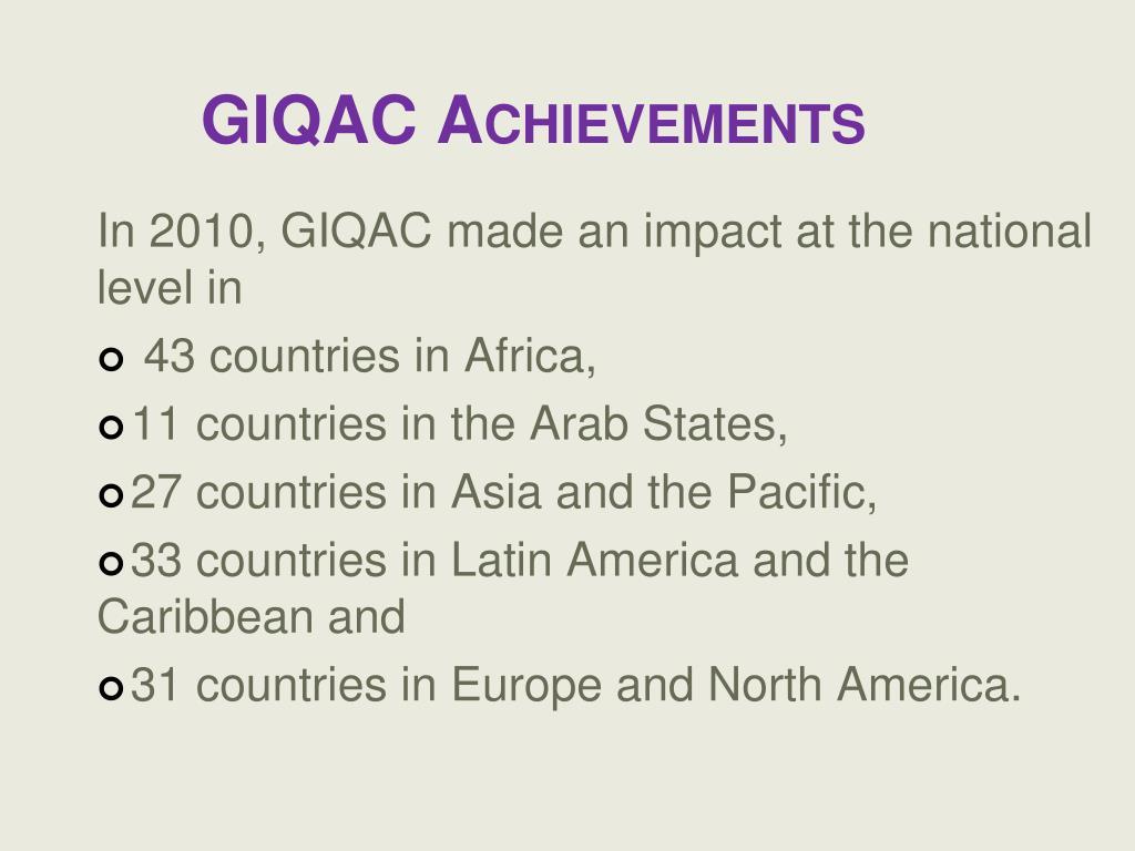 GIQAC Achievements