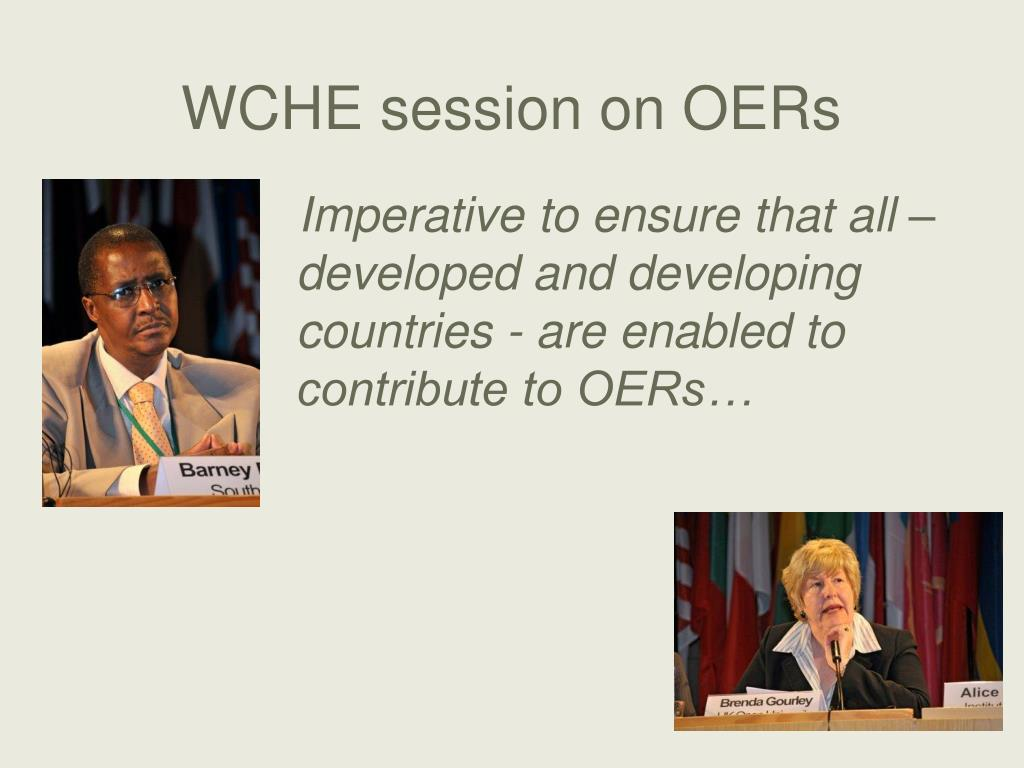 WCHE session on OERs
