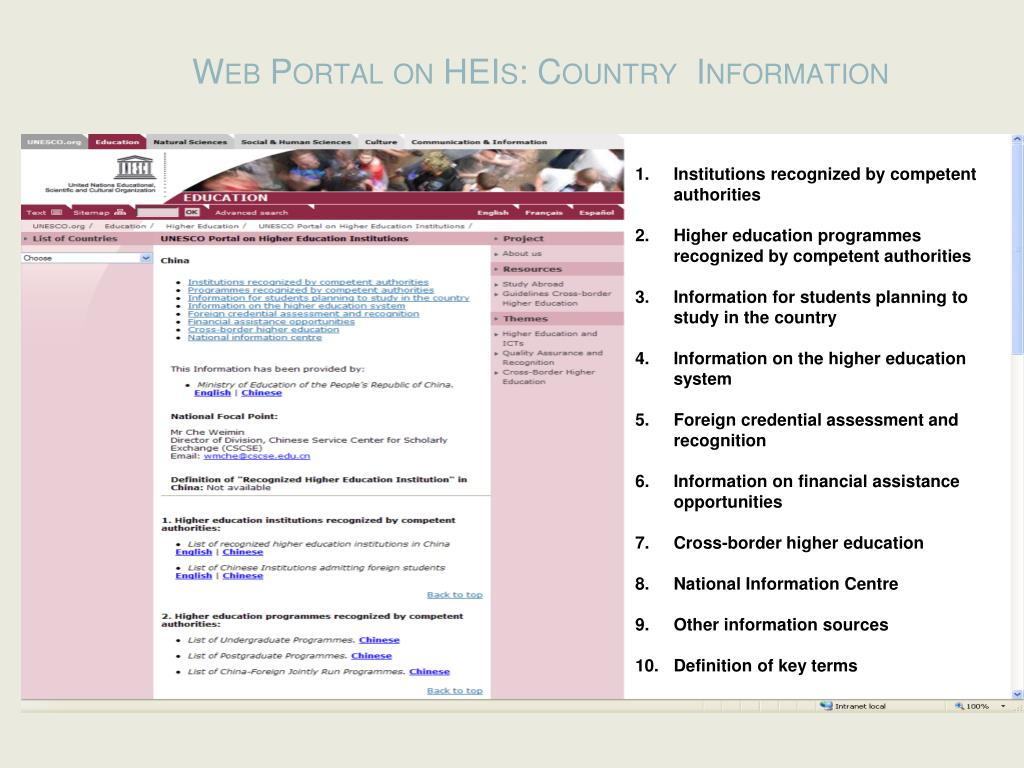 Web Portal on HEIs: Country  Information