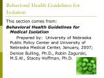 behavioral health guidelines for isolation