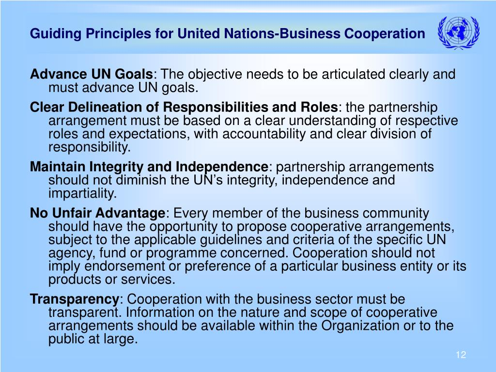 Guiding Principles for United Nations-Business Cooperation