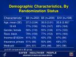 demographic characteristics by randomization status