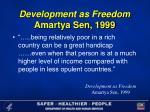 development as freedom amartya sen 1999
