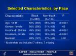 selected characteristics by race