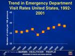 trend in emergency department visit rates united states 1992 2001