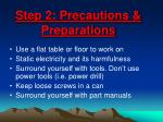 step 2 precautions preparations