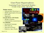 giant planet magnetospheres learning from terrestrial studies