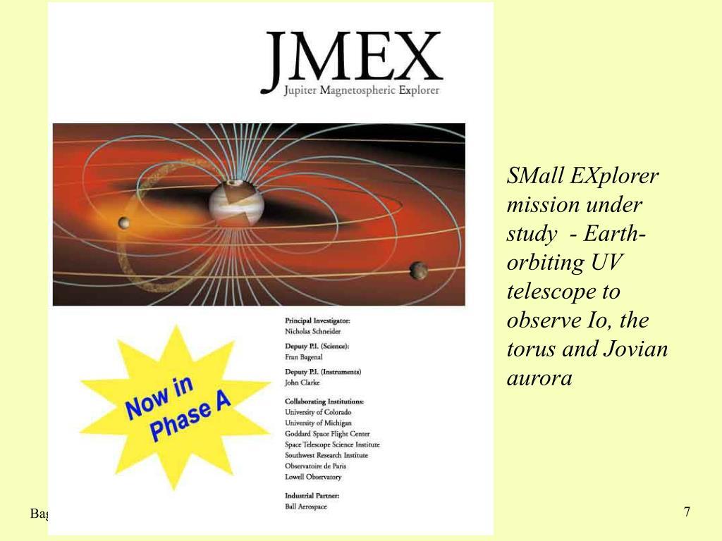 SMall EXplorer mission under study  - Earth-orbiting UV telescope to observe Io, the torus and Jovian aurora