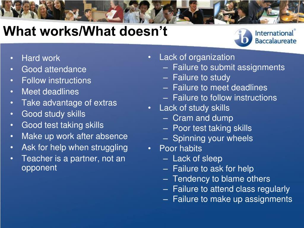 What works/What doesn't