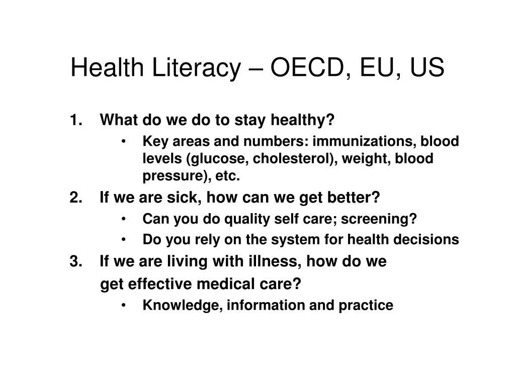 Health Literacy – OECD, EU, US