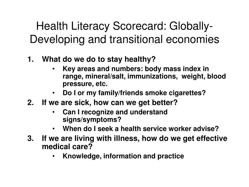 Health Literacy Scorecard: Globally-  Developing and transitional economies