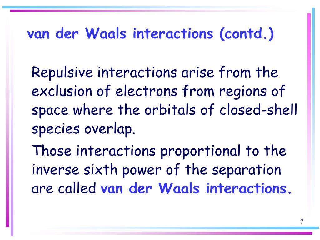 van der Waals interactions (contd.)
