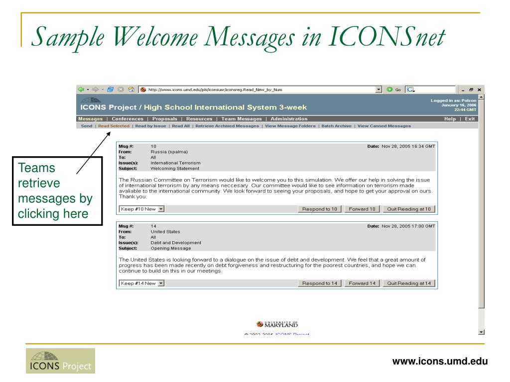 Sample Welcome Messages in ICONSnet