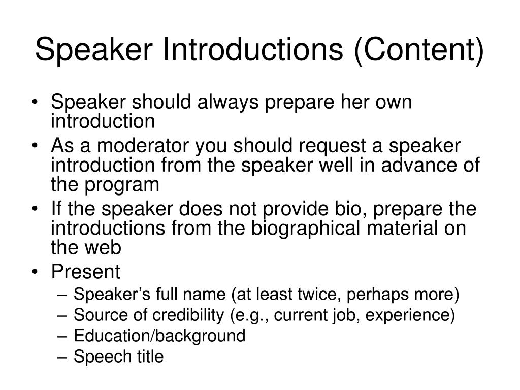 Speaker Introductions (Content)