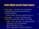 color mode versus color space