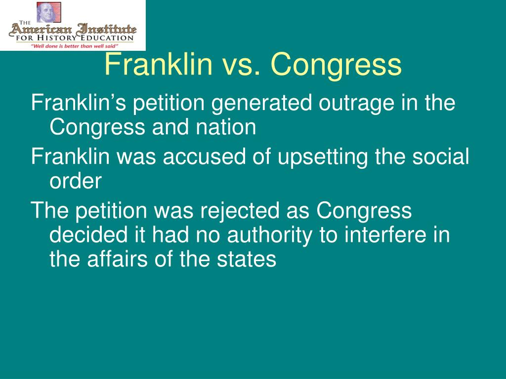 Franklin vs. Congress