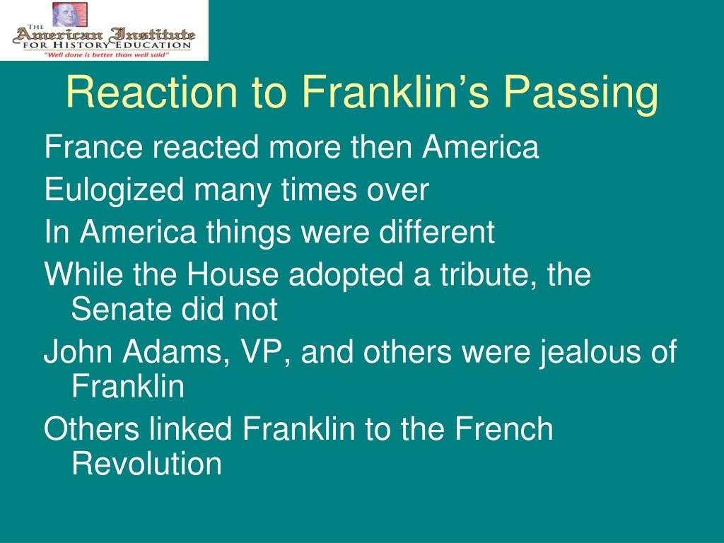 Reaction to Franklin's Passing