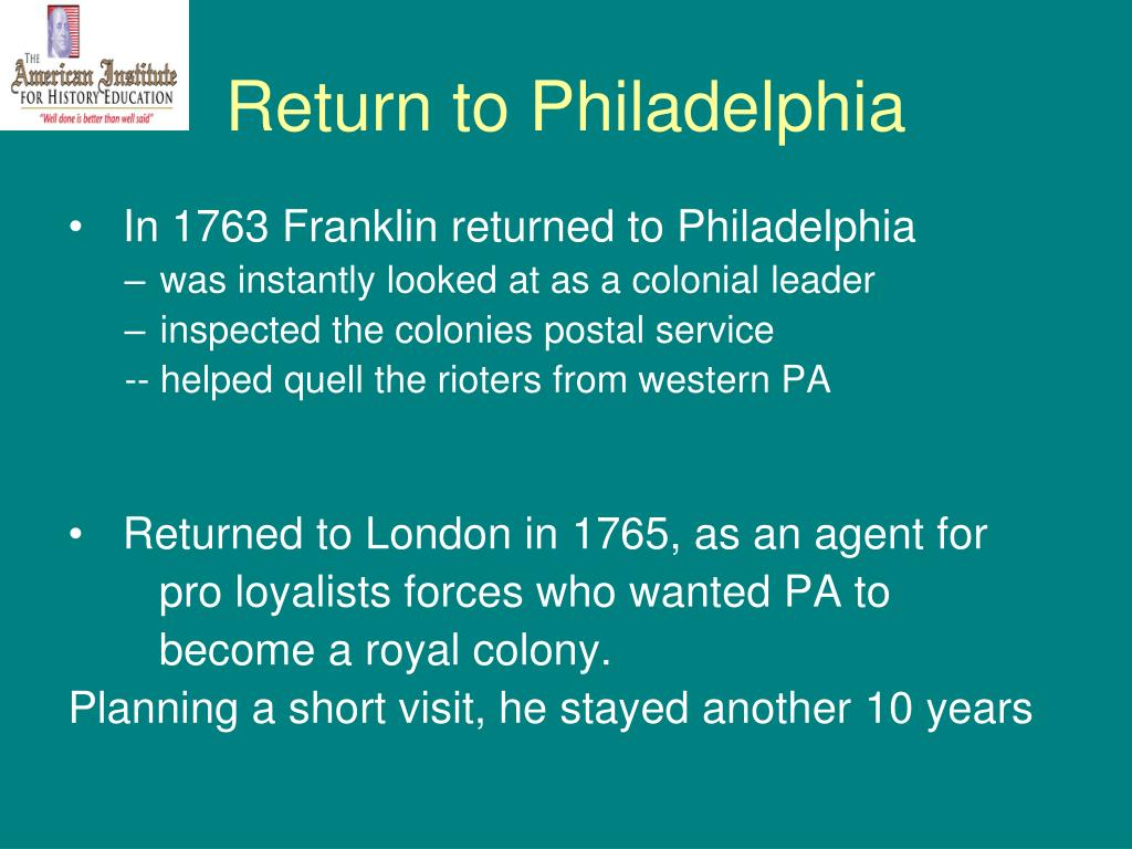 Return to Philadelphia