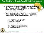 conflict and post conflict governance