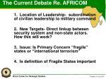 the current debate re africom