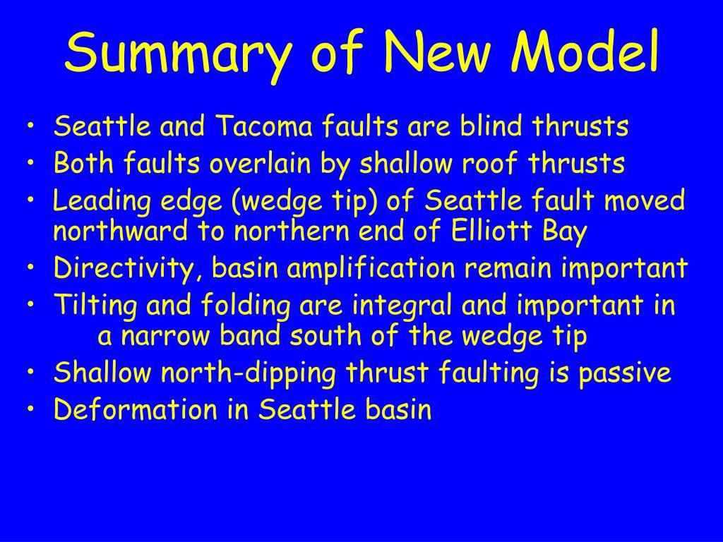 Summary of New Model