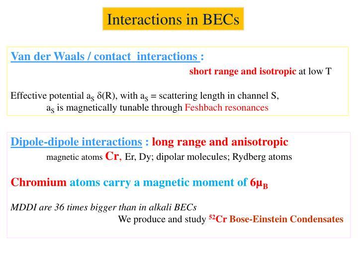 Interactions in BECs