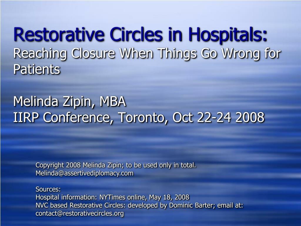 Restorative Circles in Hospitals: