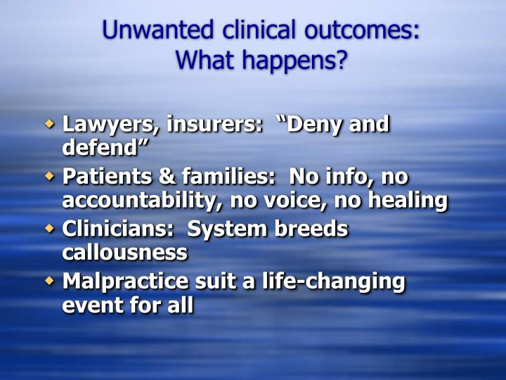 Unwanted clinical outcomes what happens