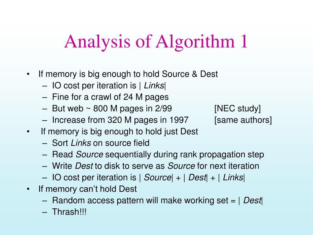 Analysis of Algorithm 1