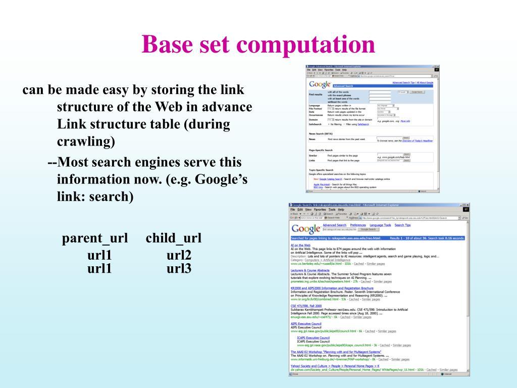 Base set computation