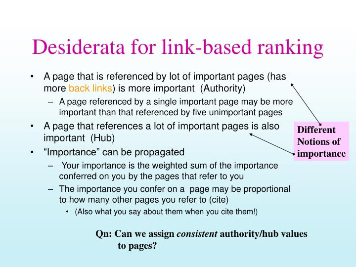 Desiderata for link based ranking
