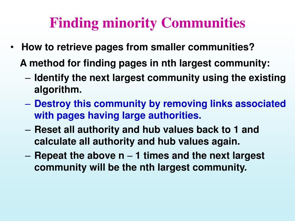 Finding minority Communities