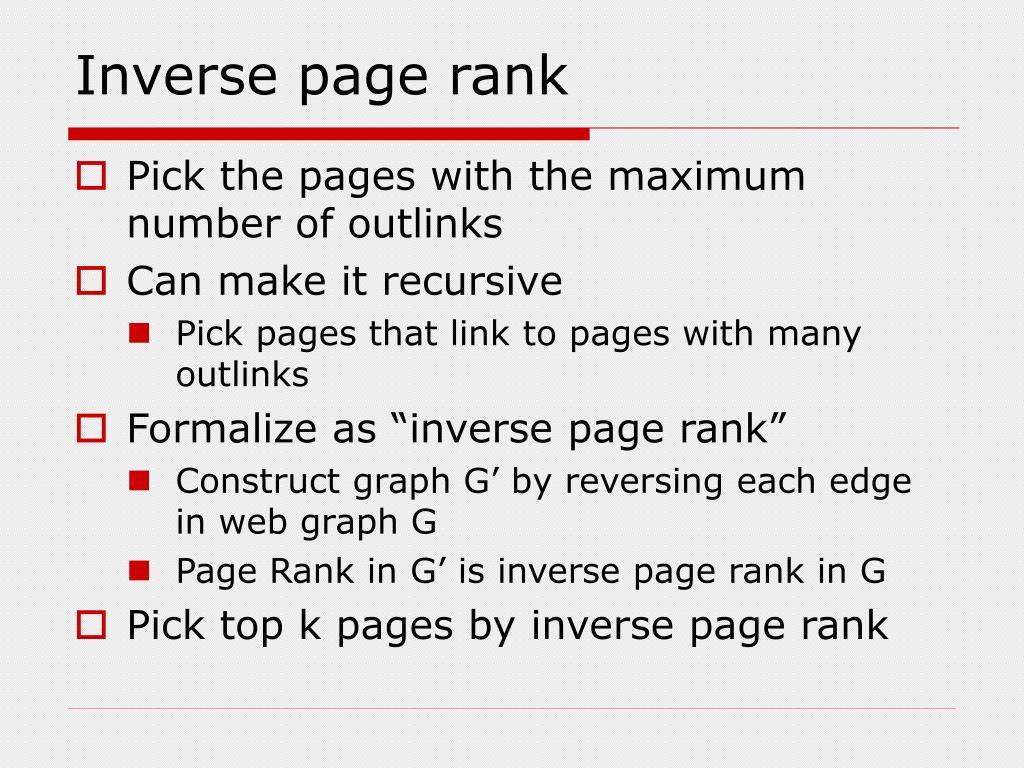 Inverse page rank