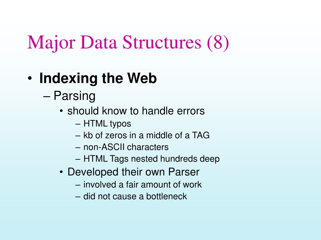 Major Data Structures (8)