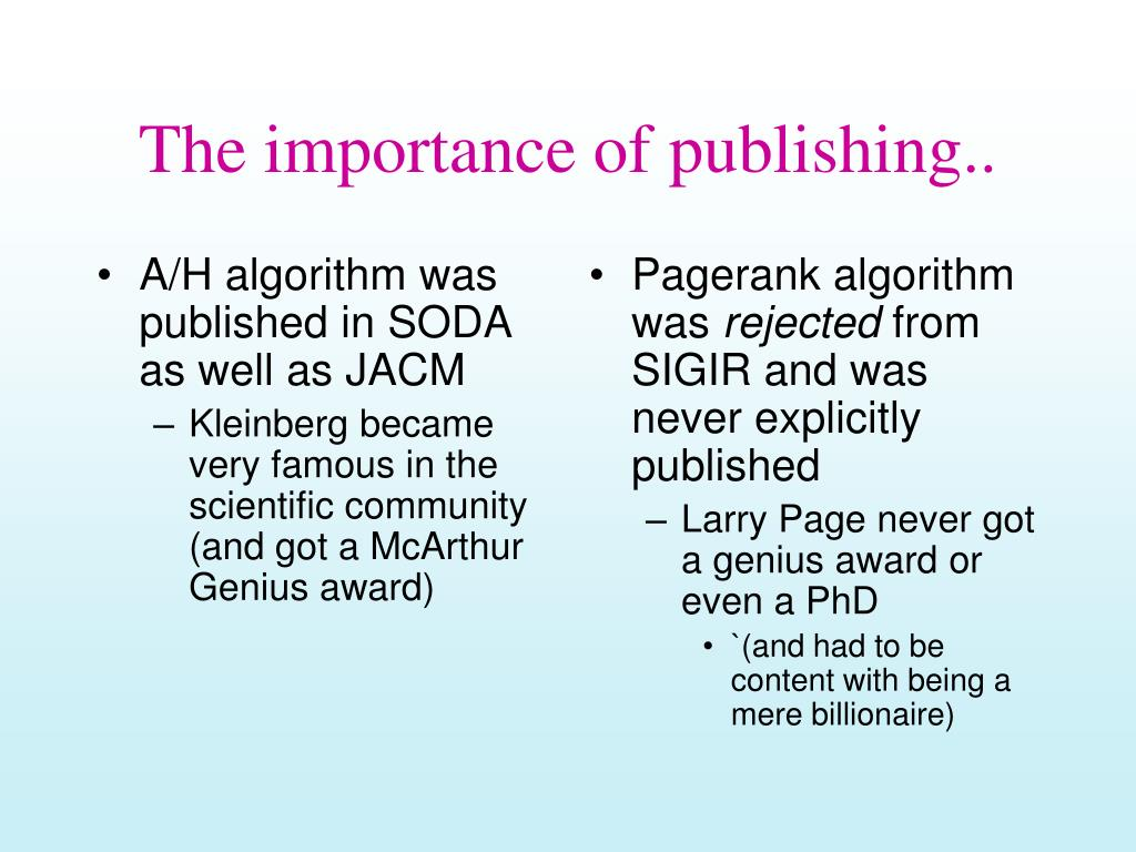 A/H algorithm was published in SODA as well as JACM