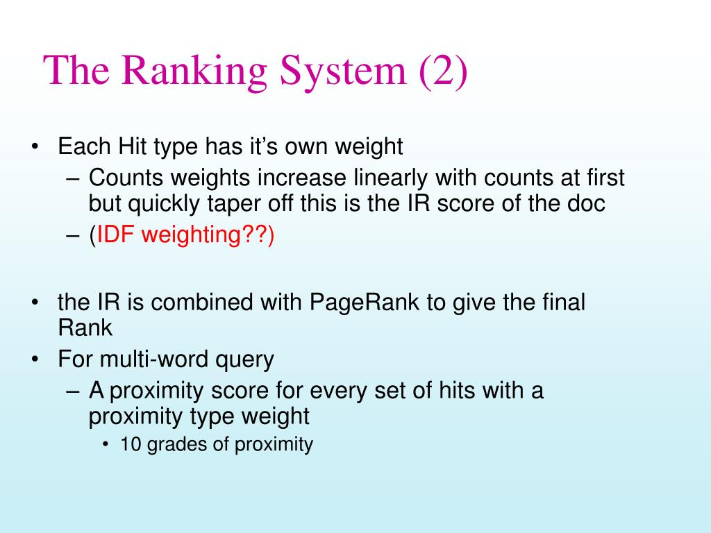 The Ranking System (2)