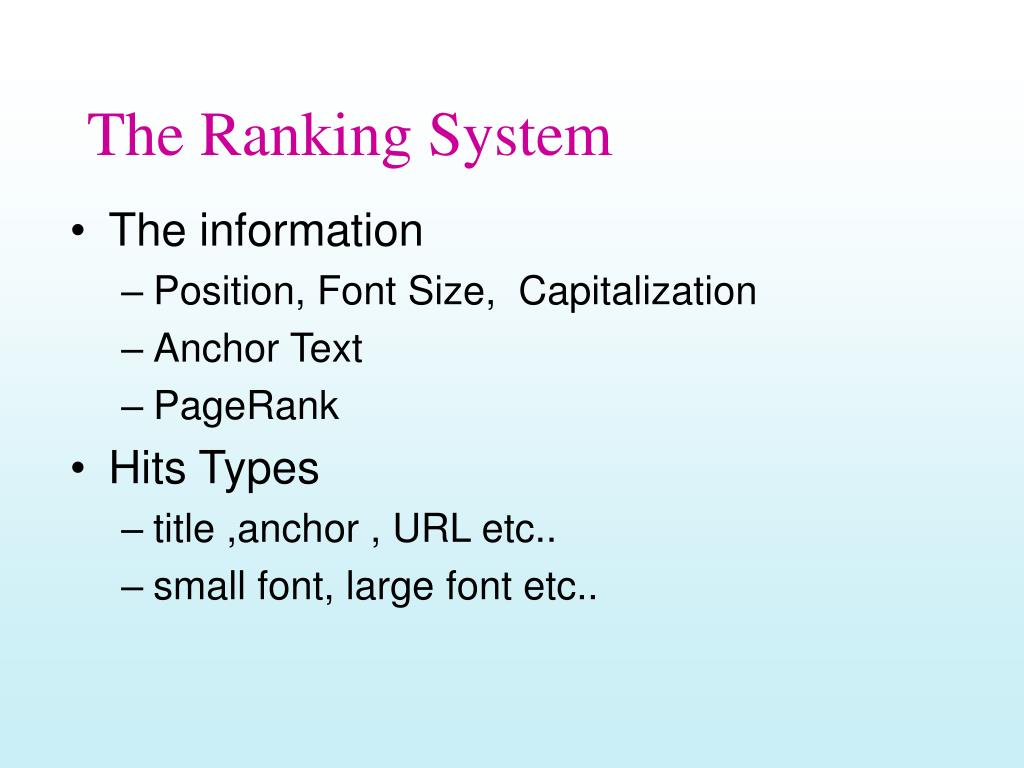 The Ranking System